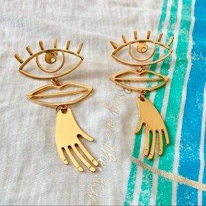 Large Pair of Picasso-Style Earrings